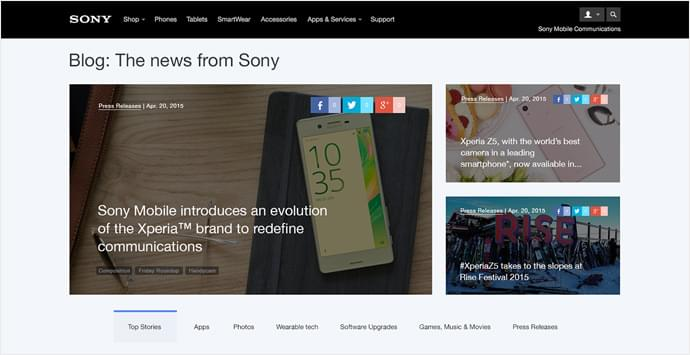 Sony Mobile's blog offers an improved user experience with the addition of a homepage main slider.